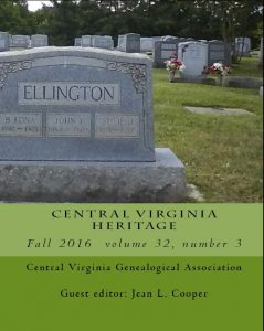 Cover of Central Virginia Heritage, Fall 2016 issue.