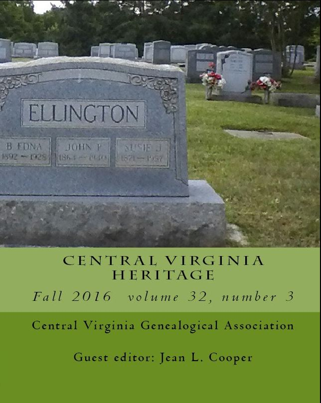 Click here to buy a printed copy of Central Virginia Heritage, Fall 2016 issue today