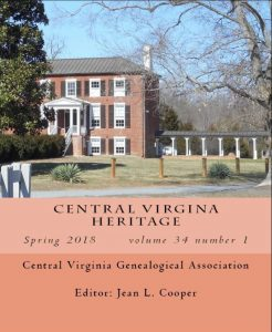Cover of Central Virginia Heritage, vol. 34, no.1