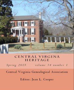 Cover of Central Virginia Heritage, vol. 34, no.1